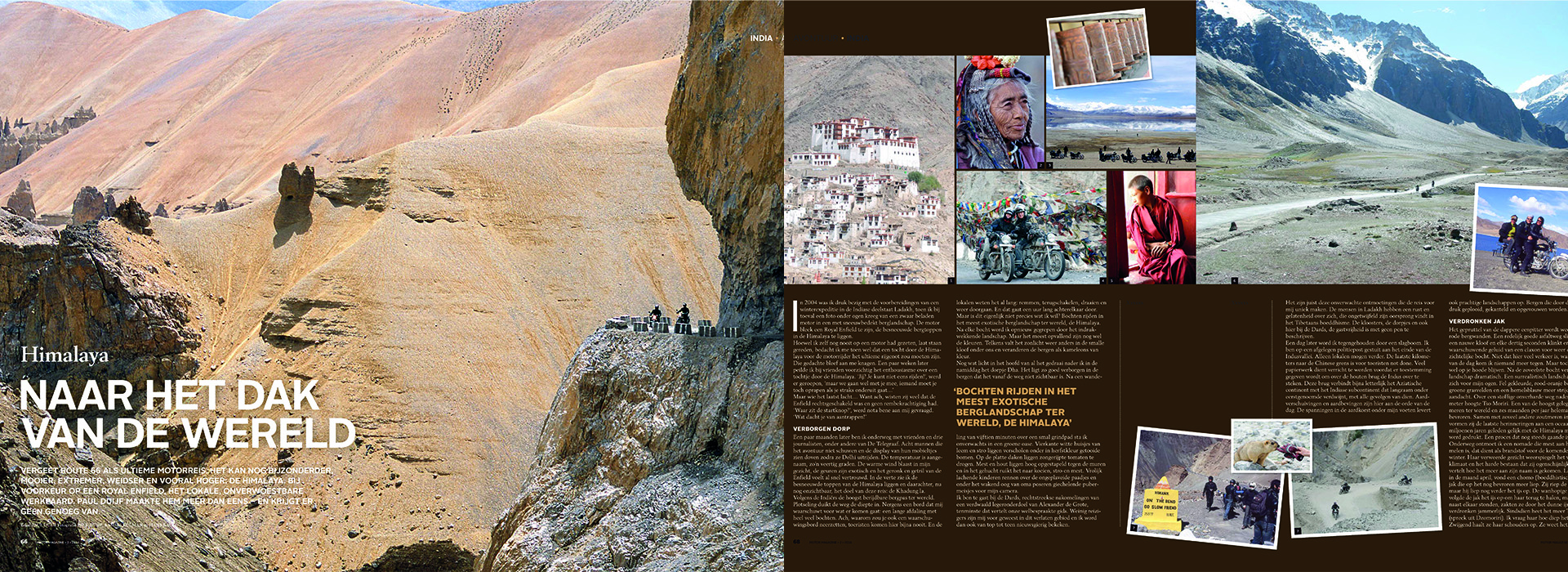 Publicatie motrreis Himalaya in Motor magazine van 2014 door Paul Duijf van Travel 2 Explore