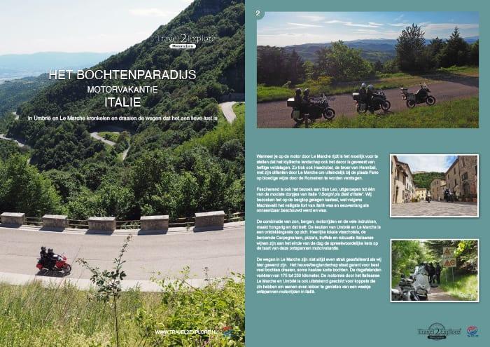 Brochure van de motorreis in Italie door Le Marche en Umbrië