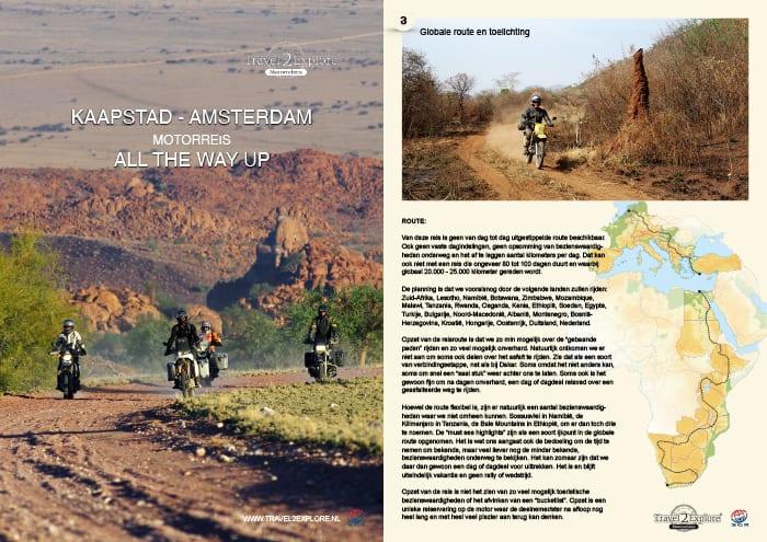 Brochure van onze motorreis van Kaapstad naar Amsterdam, All the way up.