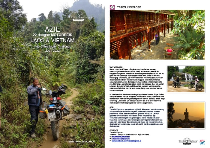 Download onze brochure van onze motorreis door Laos en Vietnam, de Indo China Motor Challenge