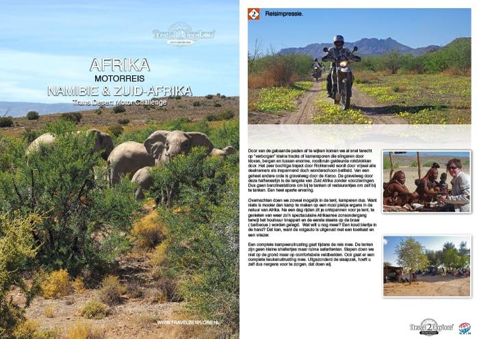 Download onze brochure van de avontuurlijke motorreis op de eigen motor van Kaapstad naar Sossusvlei via Brandberg