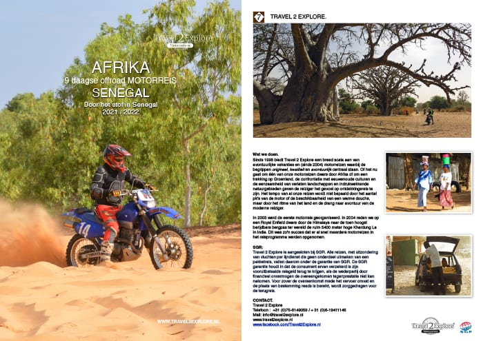 Download de brochure van onze semi offroad motor rondreis in Senegal