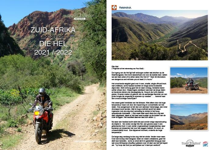 Download de brochure van onze motorreis in Zuid-Afrika, Die Hel, door Baviaanskloof, Die Hel, Drakensbergen en Kaapstad.