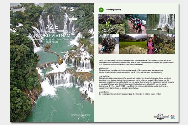 Brochure van de motorreis door Noord-Vietnam van Travel 2 Explore Motorreizen.