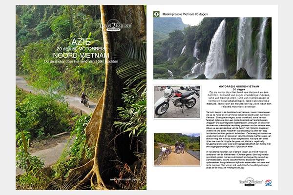 Download de brochure van onze motorreis in Noord-Vietnam. Land van 1001 bochten. Travel 2 Explore.Motorreizen
