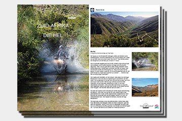 Brochure motorreizen Zuid-Afrika Die Hel 17 daagse allroad reis van Travel 2 Explore motorreizen