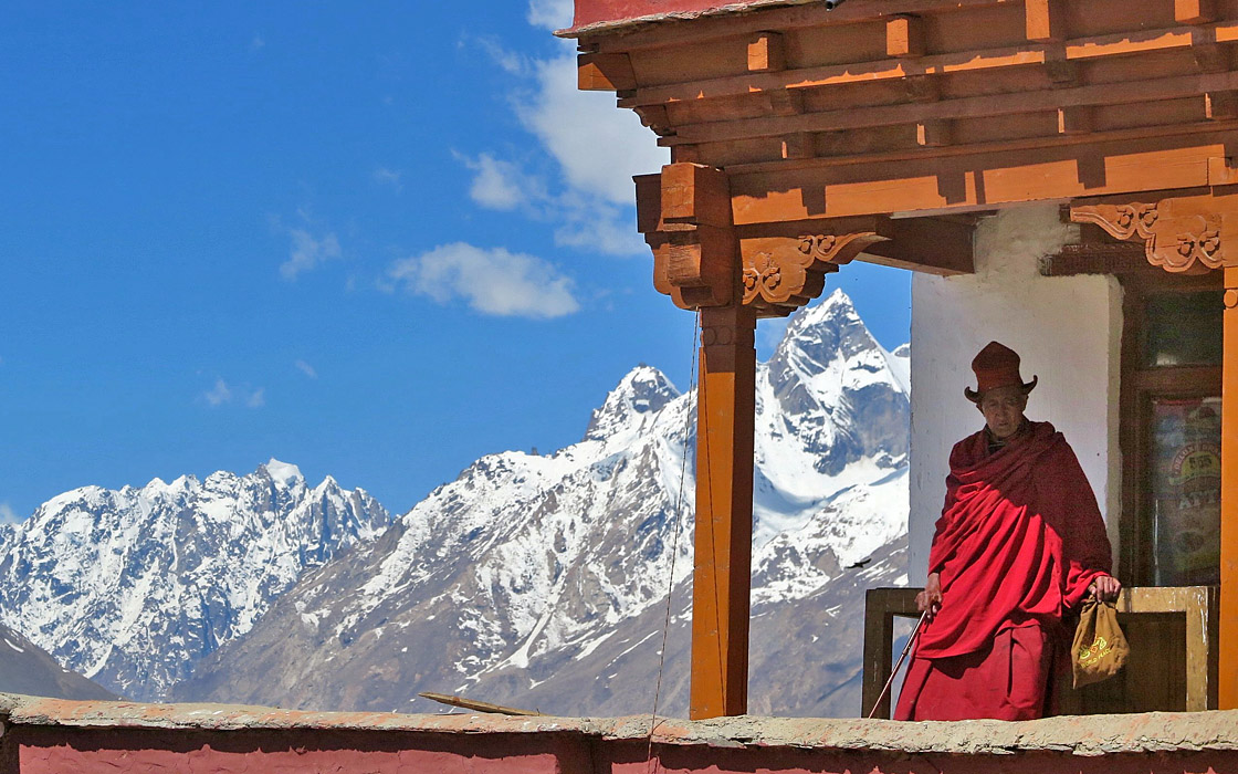Himalaya-Zanskar motorreis, Boeddhistische monnik in de Zanskar vallei