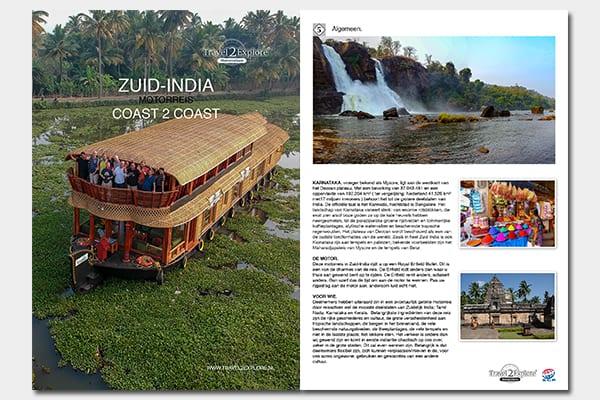 Download de 19 pagina's dikke brochure van de motorreis Zuid-India van Travel 2 Explore Motorreizen
